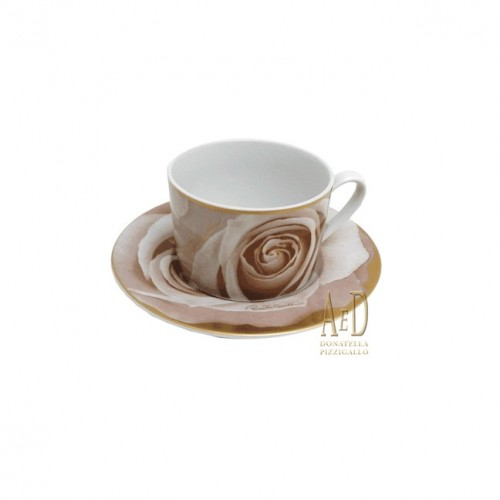 "CAVALLI TAZZA DA THE' CON PIATTINO LINEA ""DARK LADY"" BEIGE"