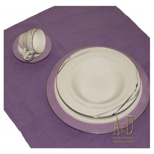 Posto tavola in porcellana bianco e viola