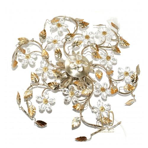 Plafoniera in ferro battuto e cristallo