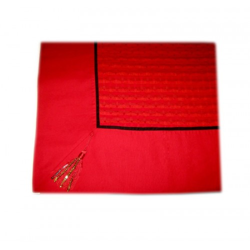 Red handmade tablecloth