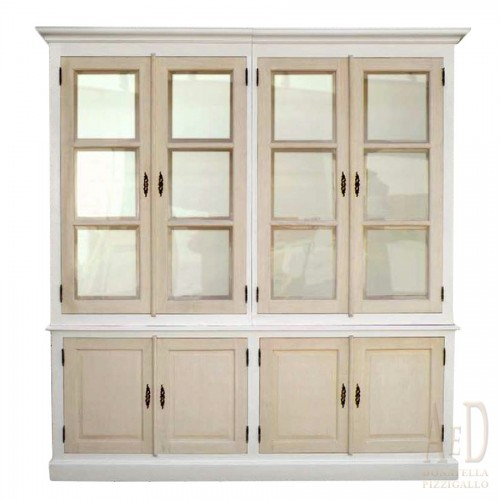 WOODEN BOOKCASE WITH DOORS AND WINDOWS