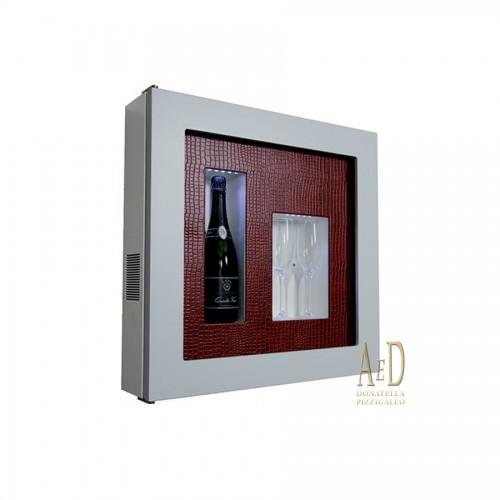 """Expò """"Quadro Vino"""" Bianco con Pannello Ecopelle Rosso"""