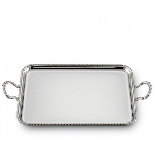 SADI Silver rectangular tray with handles